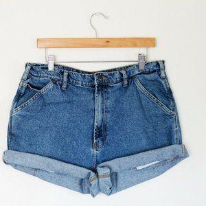 Vintage Medium Wash High Waisted Denim Shorts - 36